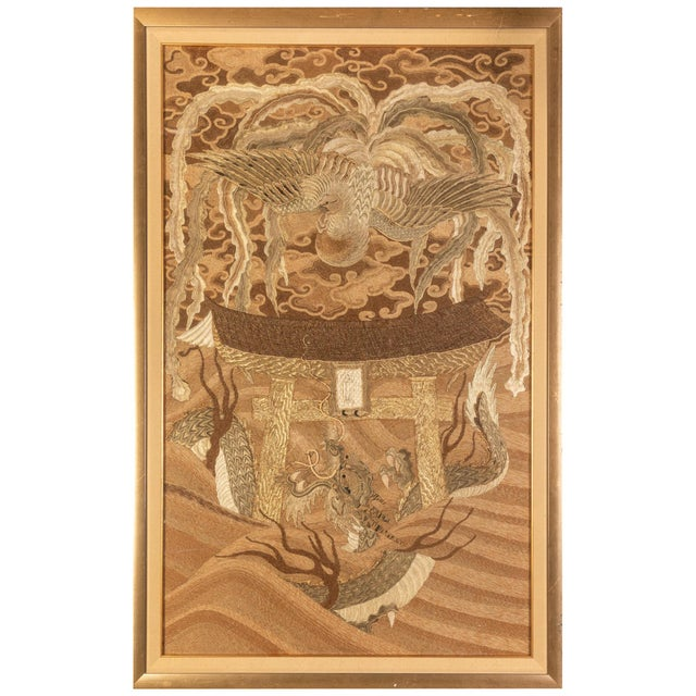 Framed Japanese Antique Phoenix and Dragon Tapestry Textile Meiji Period For Sale - Image 10 of 10