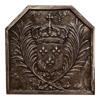 18th Century Iron Fireback With French Royal Coat of Arms and Fleurs-De-Lys For Sale
