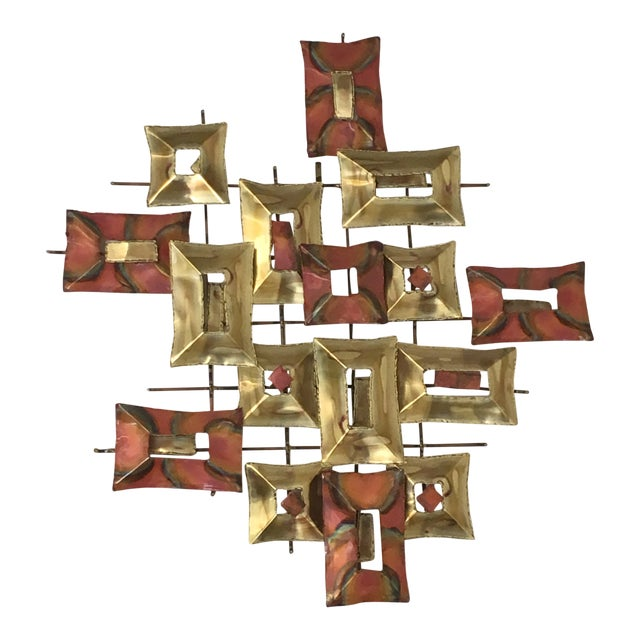 20th Century Brutalist Brass and Copper Wall Sculpture For Sale