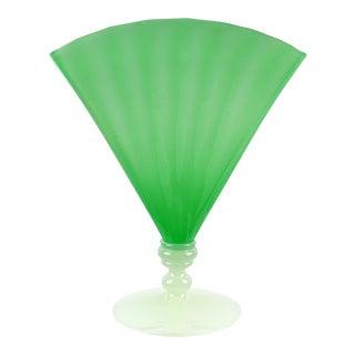 Frederick Carder Era Steuben Style Jade Green Alabaster White Antique Art Glass Fan Vase For Sale