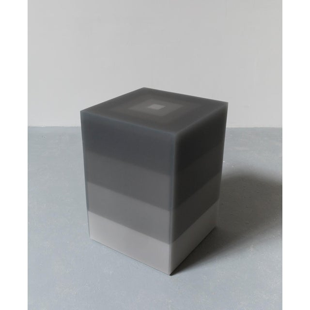 """Contemporary """"Side Table, Scale, Gray"""" Resin, Wood, 2018 For Sale - Image 3 of 3"""