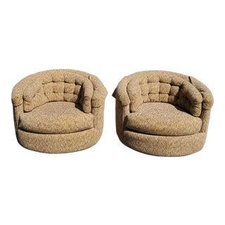 Mid Century Modern Milo Baughman Low Profile Swivel Barrel Chairs - a Pair For Sale