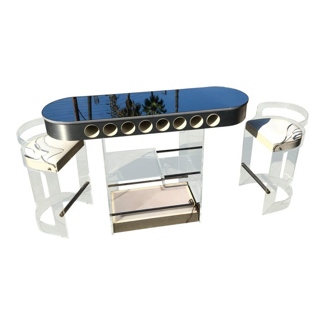 1970s Lucite Bar With Stools by Hill Mfg For Sale