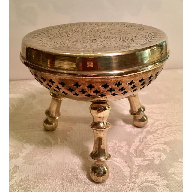 Moroccan Brass Warming Stool For Sale - Image 5 of 8