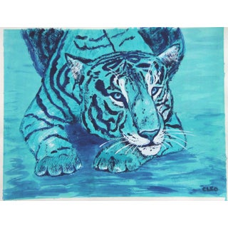Contemporary Turquoise Tiger Painting by Cleo Plowden For Sale