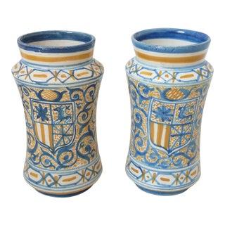 Early 20th Century Antique Spanish Albarelli Ceramic Vases- a Pair For Sale