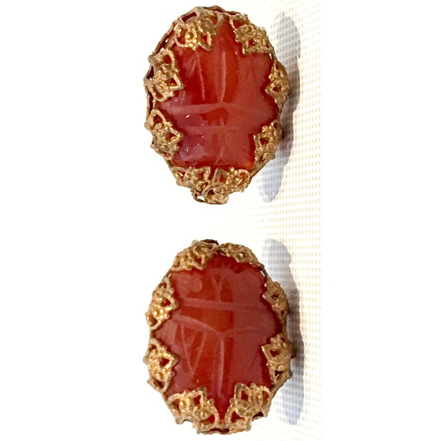 Miriam Haskell Mid-Century Mirian Haskell Russian Gold Carved Glass Scarab Earrings-Signed For Sale - Image 4 of 9