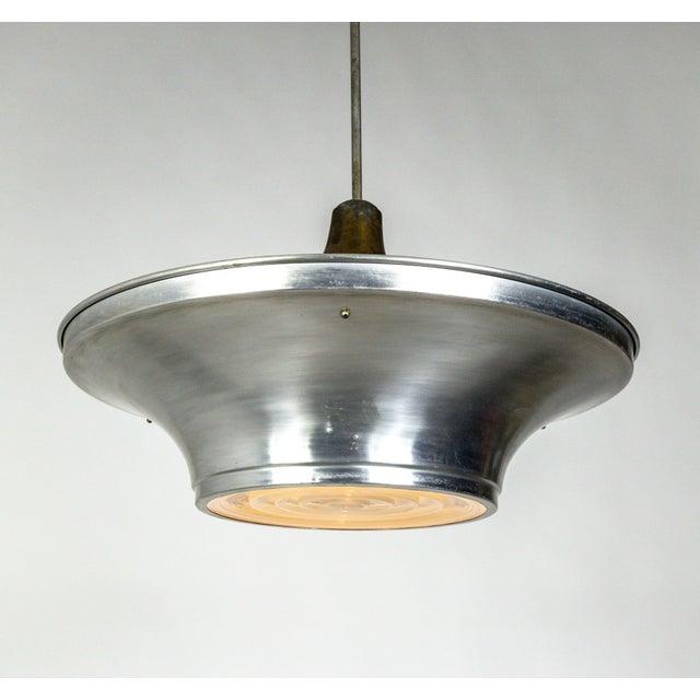 Art Deco Aluminum Dish Pendants W/ Unique Glass Diffusers (2 Pairs Available) For Sale - Image 9 of 13