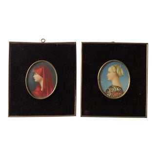20th Century Celluloid Portrait Paintings by Emma Focacci (1882-1956) - a Pair For Sale