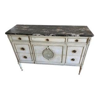 John Widdicomb French Louis XVI Marble Top Sideboard Buffet For Sale