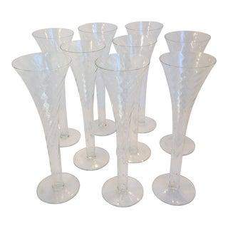 Souffle A La Bouche Trumpet Champagne Flutes - Set of 9
