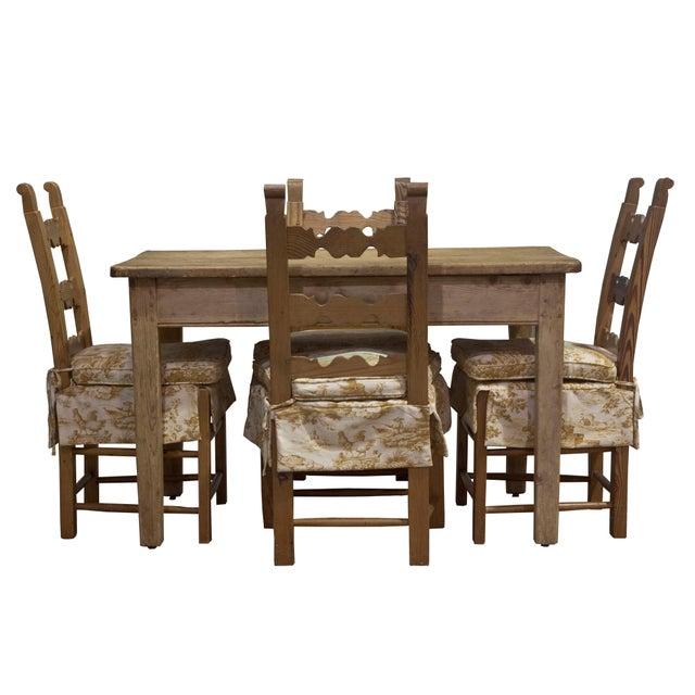 Late 20th Century Vintage Sarreid LTD Pine Wood Dining Set For Sale - Image 5 of 5