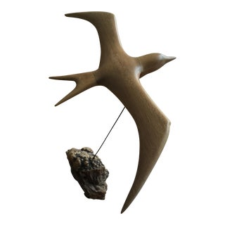 Wooden Seagull in Flight Driftwood Sculpture
