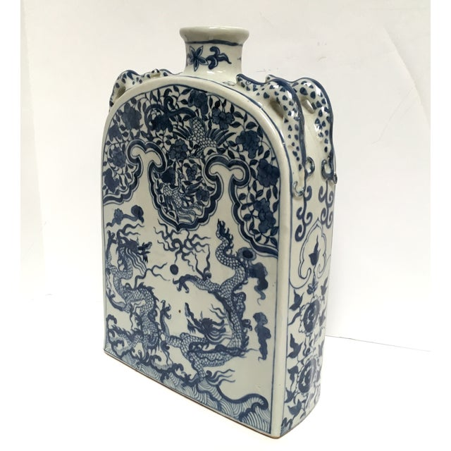 Blue Chinese Dragon Flat-Front Vase - Image 3 of 11