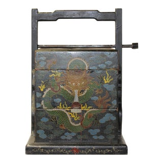 Chinese Distressed Black Lacquer Dragons Graphic Stack Box Basket For Sale