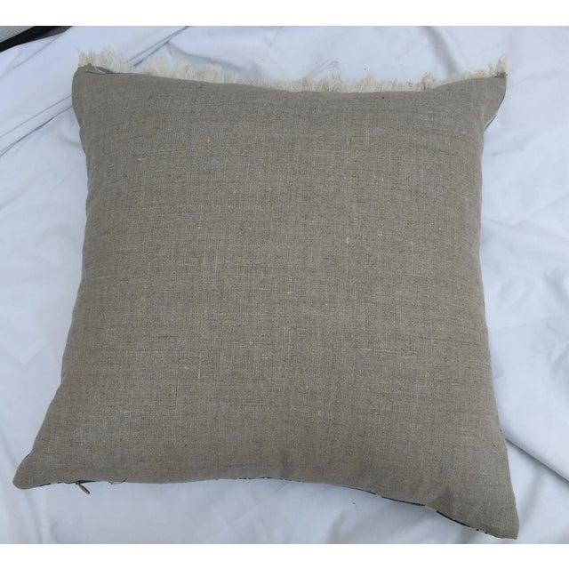Indigo Ikat Fringe African Pillows - A Pair - Image 3 of 7