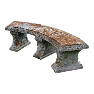 Mid 20th Century Curved Stone Bench For Sale