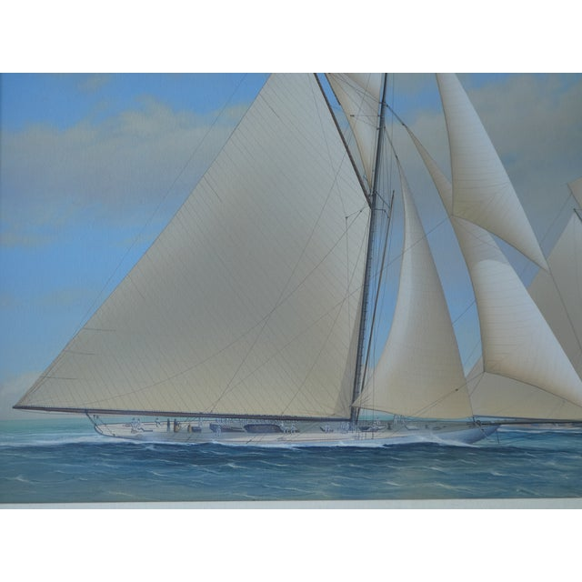 21st Century Vintage Yacht Racing Painting Possibly America's Cup by Richard Lane For Sale In Miami - Image 6 of 12