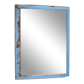 1910s Antique Rustic Window Frame Mirror For Sale