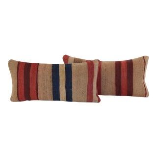 Striped Turkish Kilim Pillows- A Pair For Sale