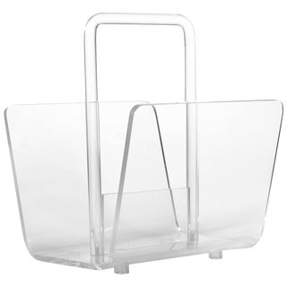 Lucite and Acrylic Magazine Rack or Holder For Sale