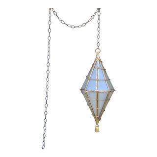 1950s Large Italian Glass and Gilt Metal Geometric Hanging Lantern For Sale