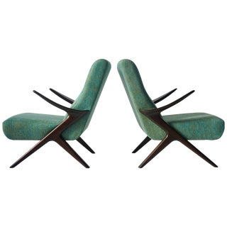 Pair of Sculptural Danish Lounge Chairs For Sale