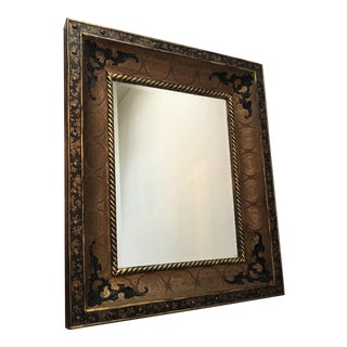 1970s Medieval Ornate Riveted Bronze Wall Mirror