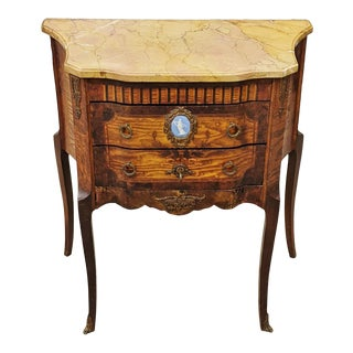 19th Century French Louis XV Sienna Marble Top & Plaque Commode For Sale