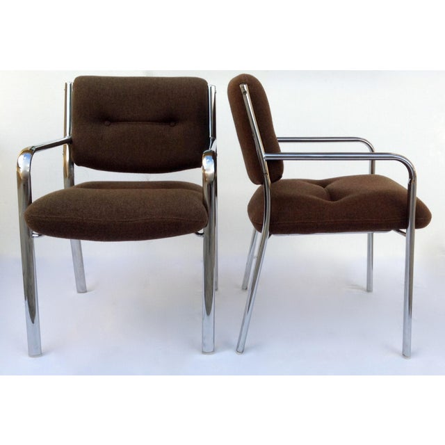 Vintage Chrome Arm Chairs w/Knoll Textile - A Pair - Image 5 of 11