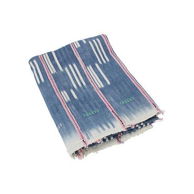 Boho African Indigo & Pink Mud Cloth Throw - Image 2 of 4