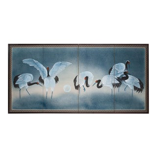 "Shōwa Era Japanese Byobu Screen ""Red-Crowned Cranes at Moonlight"" For Sale"