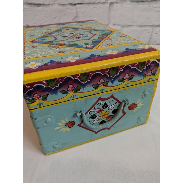Mid 20th Century Vintage Mid-Century Folk Art Painted Wooden Box For Sale - Image 5 of 11