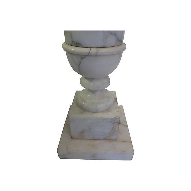 Carved Alabaster Table Lamp For Sale - Image 4 of 6