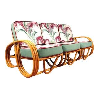 Restored Three-Strand Reverse Pretzel Rattan Sofa For Sale