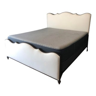 Handmade - Los Angeles Hand Forged Metal Frame Bed + Durable Sunbrella Fabric Upholestry For Sale
