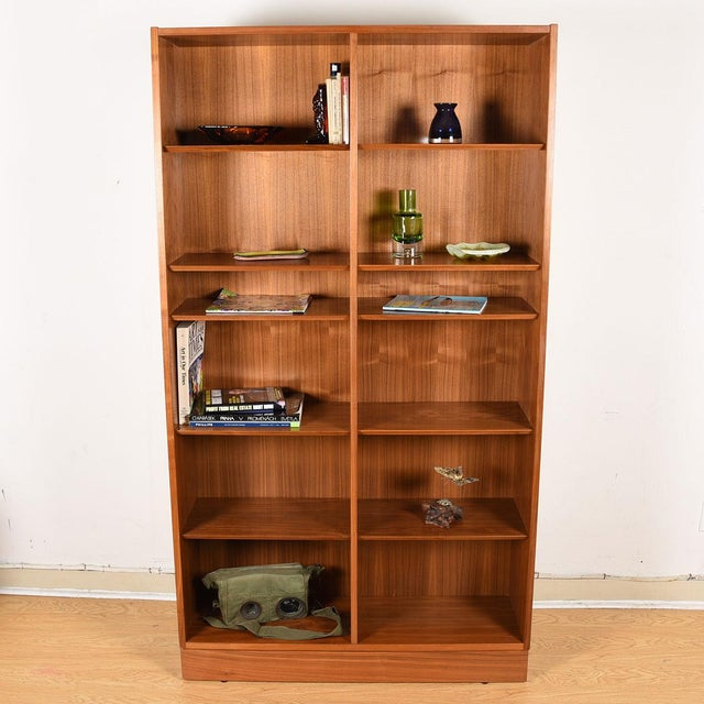 Wood Danish Walnut 42″ Tall Bookcase W/ Adjustable Shelves For Sale - Image 7 of 9