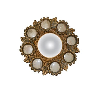 Gold Starburst Convex Cameo Mirror With Photo Frames For Sale