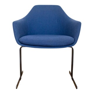 Vecta Chair in Blue Tweed Upholstery, Maurice Burke Fiberglass Shell