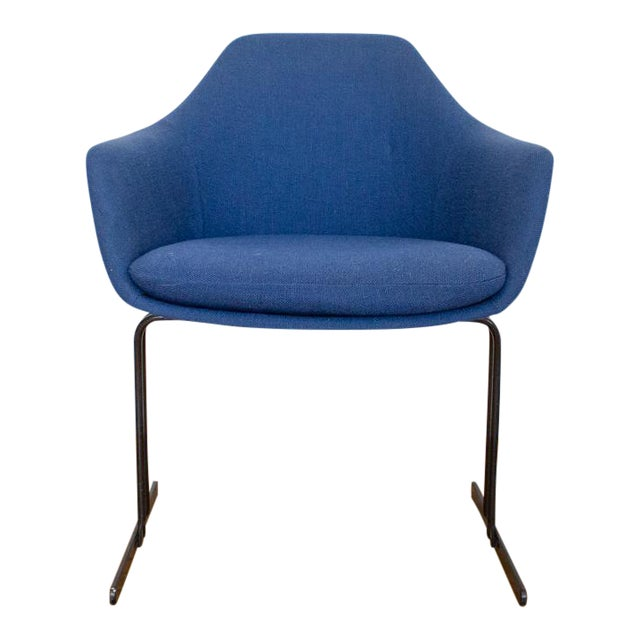 Vecta Chair in Blue Tweed Upholstery, Maurice Burke Fiberglass Shell For Sale