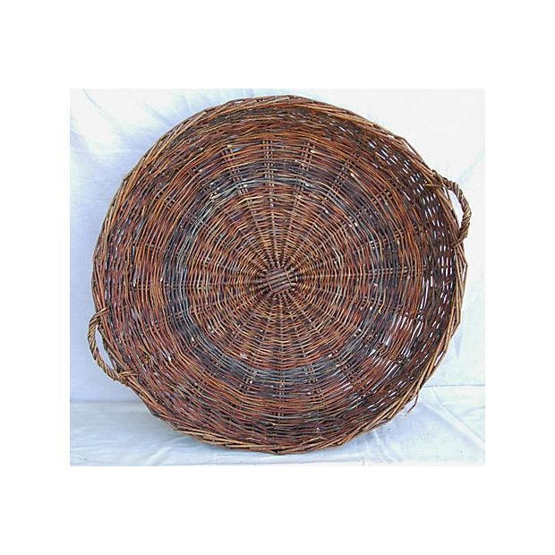 Large French Woven Willow Grape Harvest Basket - Image 9 of 9