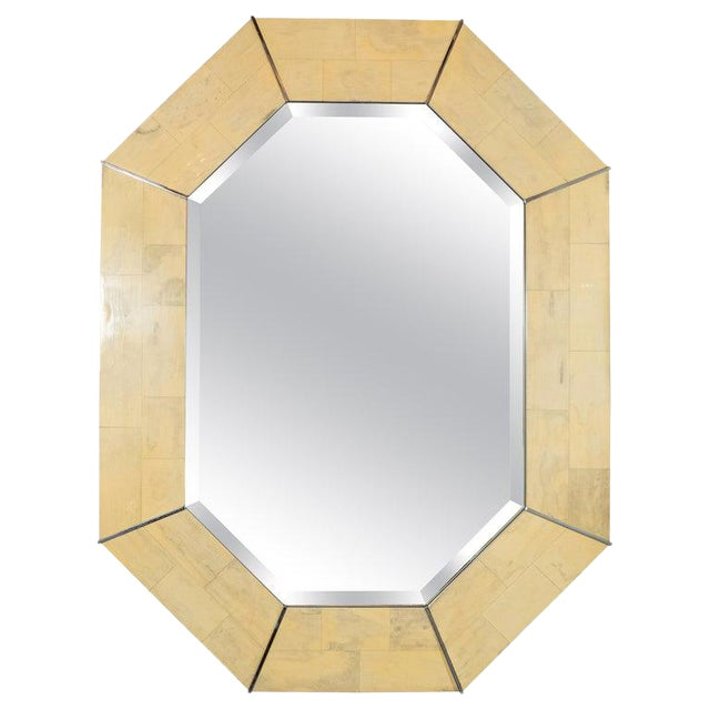 Karl Springer Mid-Century Elongated 8-Sided Marbleized Lacquer and Brass Mirror For Sale