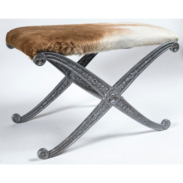 Metal 20th Century Neoclassic X-Frame Upholstered Benches - a Pair For Sale - Image 7 of 12