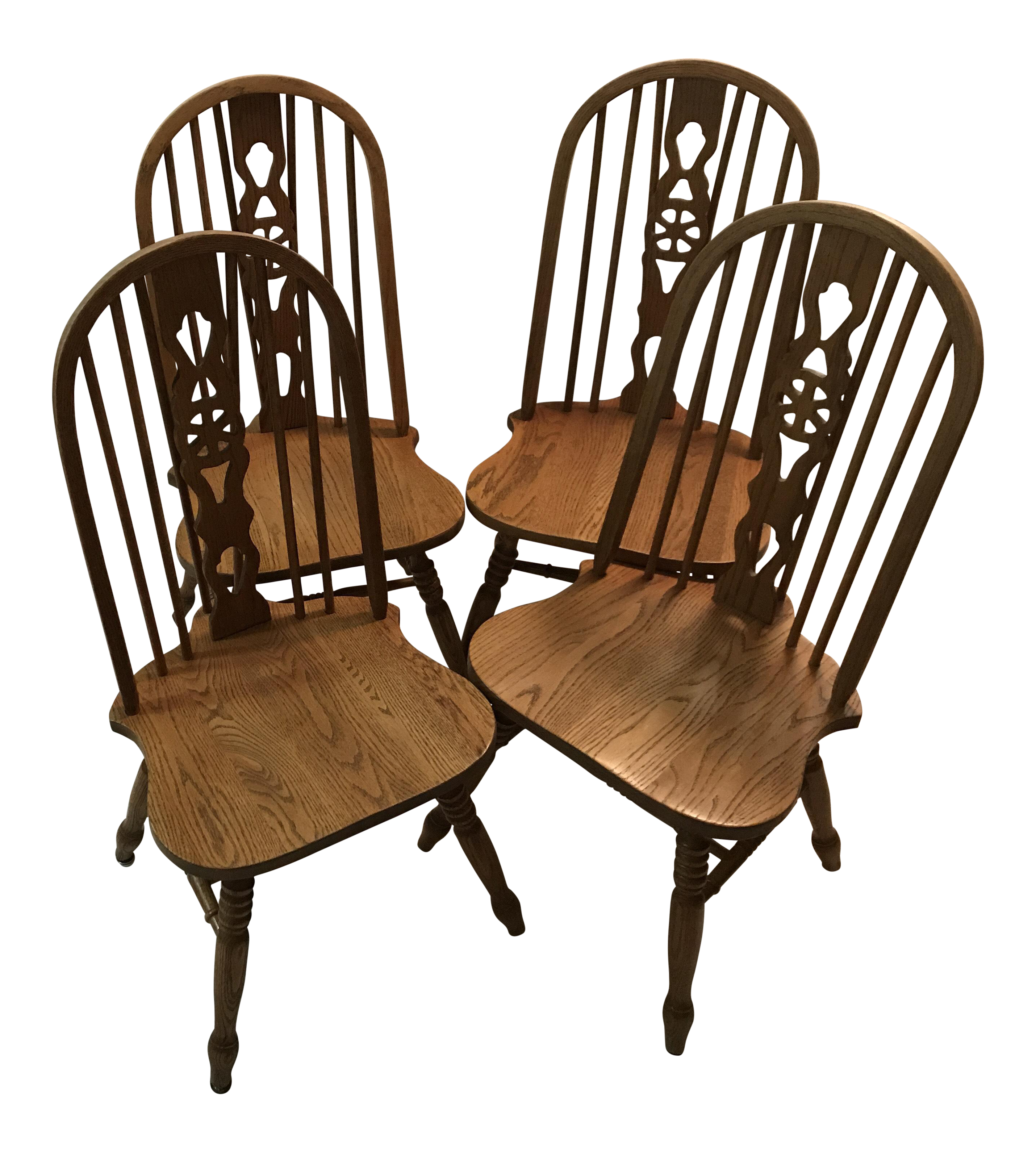 Noble Wheel Fiddle Back Chairs   Set Of 4