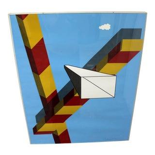 1968 Mid-Century Modern Allan d'Arcangelo Abstract Surrealist Print