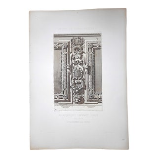 Large Antique Architectural Engraving-Palais de Fontainebleau-Architectural Details For Sale