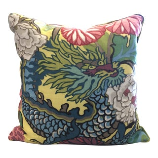 Multicolored Chang Mai Dragon Pillow-With Insert For Sale