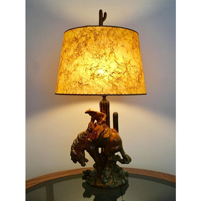 1940s Vintage Cowboy & Horse Lamp For Sale - Image 11 of 11