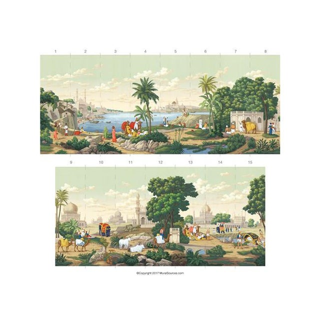 "Asian Casa Cosima Classic Jaipur Mural - 4 Panels 144"" W X 120"" H For Sale - Image 3 of 4"