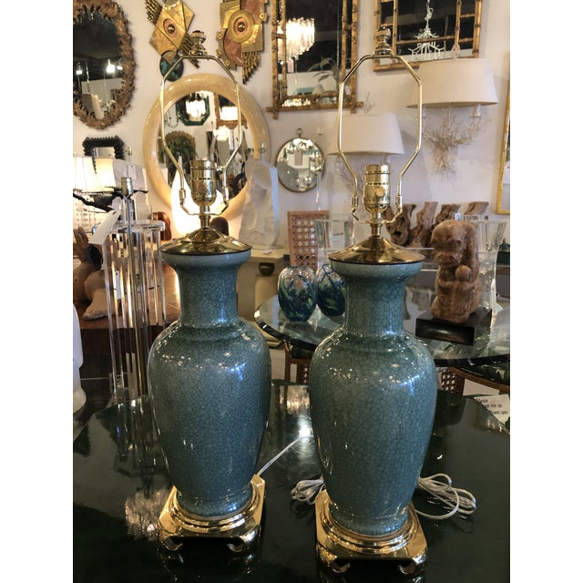 Vintage Hollywood Regency Pagoda Teal Green Crackle Glaze & Brass Table Lamps -A Pair For Sale - Image 9 of 13